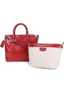Bolsa Couro Shoestock Tote Desestruturada Croco Feminina - Feminino-Vermelho