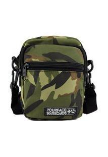 Bolsa Shoulder Bag Your Face Lil I Camuflada Verde Casual Urbano Estilo Poliéster Mini Bolsa Skate