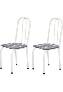 Cadeira Assento Reto 2 Peças 00101 Branco Cinza Floral Archeli