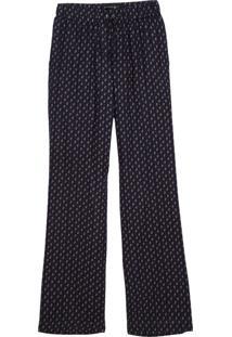 Calça Dudalina Cintura Média Elástico Estampa Cashmere Feminina (Azul Marinho Estampa Mini Cashmere, 36)