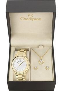 Kit Relógio Feminino Champion Cn29687W Analógico 3 Atm + Semi Jóia
