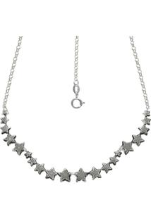 Gargantilha Prata Mil Envelhecida Com 20 Estrelas Estampadas Reticuladas Prata