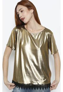 Blusa Metalizada Com Renda - Dourada & Preta - Lanã§Alanã§A Perfume