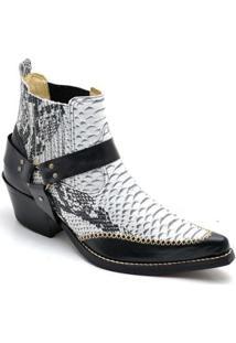 Bota Top Franca Shoes Country Bico Fino Anaconda Masculina - Masculino-Preto+Branco