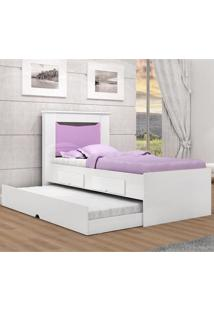 Cama Bibox Solteiro Flex Color Barbara Cimol Branco/Rosa/Lilas