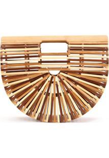 Bolsa Clutch De Bambu Isla Galerias Pequena Cor Marrom E Natural - Kanui