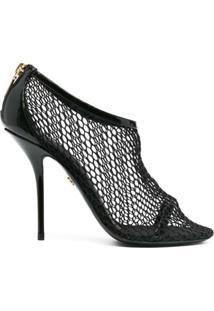 Dolce & Gabbana Sandália Com Mesh E Salto 105Mm - Preto