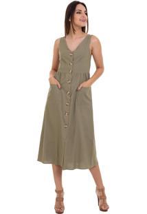 Vestido Kinara Midi Liso Amarraã§Ã£O Nas Costas Verde - Verde - Feminino - Algodã£O - Dafiti