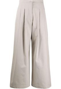 Katharine Hamnett London Calça Pantalona Com Prega - Cinza