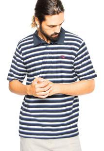 Camisa Polo Quiksilver Belolake Azul/Branco