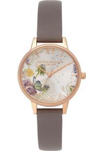 Relógio Olivia Burton Feminino Couro Cinza - Ob16Sg02