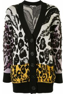 Stella Mccartney Cardigan De Tricô Com Padronagem Animal Print - Preto