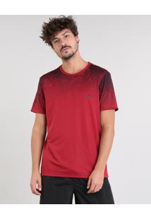 Camiseta Masculina Esportiva Ace Com Degradê Manga Curta Gola Careca Vinho