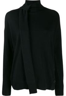 Pinko Neck Tie Knitted Sweater - Preto