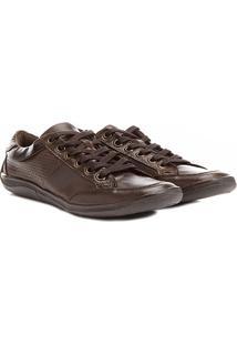 Sapatênis Shoestock Couro Perfuros - Masculino-Café