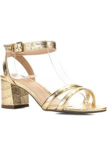 Sandália Couro Shoestock Croco Metalizada Feminina - Feminino-Ouro