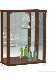 Cristaleira 2 Portas De Vidro Com Espelho E Pés Palito Onix 100% Mdf Nogueira - Móveis Forini