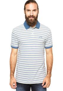 Camisa Polo Levis Listrada Off-White/Azul