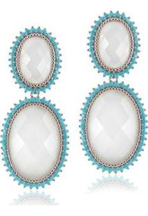 Brinco Giullia Ferraz Store Oval Acetinado E Nano Feminino - Feminino-Branco+Azul