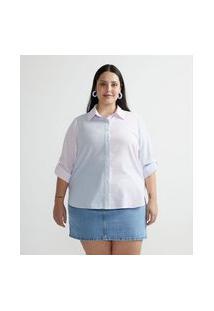 Camisa Alongada Em Tricoline Listrada Bicolor Curve & Plus Size
