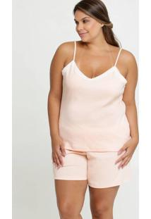 Pijama Feminino Recorte Renda Plus Size Alças Finas
