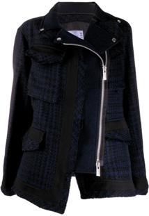 Sacai Zipped Tweed Jacket - Azul