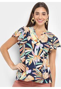 Blusa Lily Fashion Transpasse Babado Feminina - Feminino-Marinho