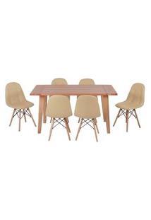 Conjunto Mesa De Jantar Em Madeira 150X80 Vértice + 6 Cadeiras Botonê - Nude
