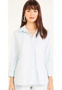 Camisa Lisa Com Bolso - Azul Claroshoulder