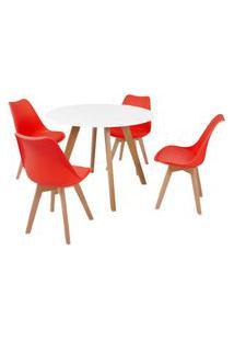 Mesa Inês 100Cm Branca + 4 Cadeiras Leda - Vermelha