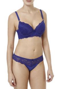Conjunto De Lingerie Feminino Azul - Feminino