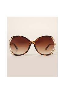Óculos De Sol Feminino Redondo Yessica Tartaruga