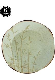 Conjunto 6 Pratos Sobremesa 21,5Cm Bambu Verde Oxford
