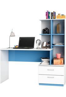Mesa De Computador C/ 2 Gavetas Poli-Poliman - Branco / Azul