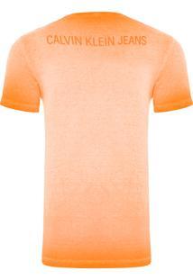 Camiseta Masculina Logo Frente E Costas - Laranja