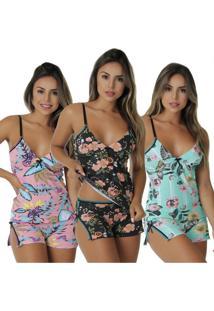 Kit Com 3 Baby Dolls Maui Algodão Penteado