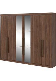 Guarda Roupa Castellaro 6 Portas Com Espelhos Imbuia Naturale