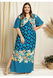 Vestido Longo Floral Azul Com Fendas Plus Size