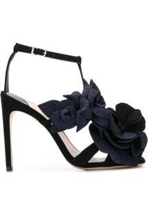 Sophia Webster Sandália Com Aplicação Floral - Preto