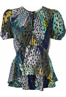 Dvf Diane Von Furstenberg Blusa Peplum Emeri - Azul