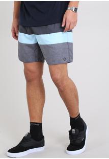 Short Masculino Listrado Com Bolsos Azul