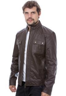 Jaqueta De Couro Slim 760 Marrom
