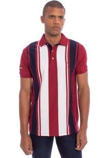 Camisa Polo Aleatory Listrada Main Masculina - Masculino-Vinho