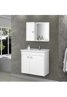 Gabinete Para Banheiro Com Cuba E Espelheira Munique Móveis Bechara Branco