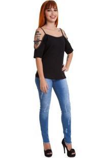 Blusa Versani Ombros Vazado Feminina - Feminino-Preto