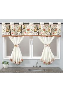 Cortina De Cozinha Home Sweet 2,00M X 1,40M Para Varão Simples Coruja Borda Bordados Enxovais