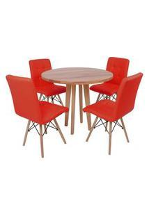 Conjunto Mesa De Jantar Em Madeira 90Cm Com Base Vértice + 4 Cadeiras Gomos - Vermelho