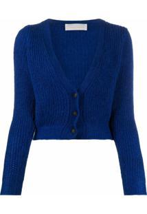 Chiara Bertani Cardigan Cropped De Tricô - Azul