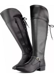 Bota Over The Knee Touro Boots Com Ajuste Preta Preto - Preto - Feminino - Dafiti