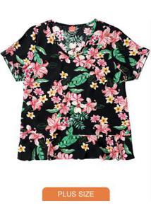 Blusa Preta Floral